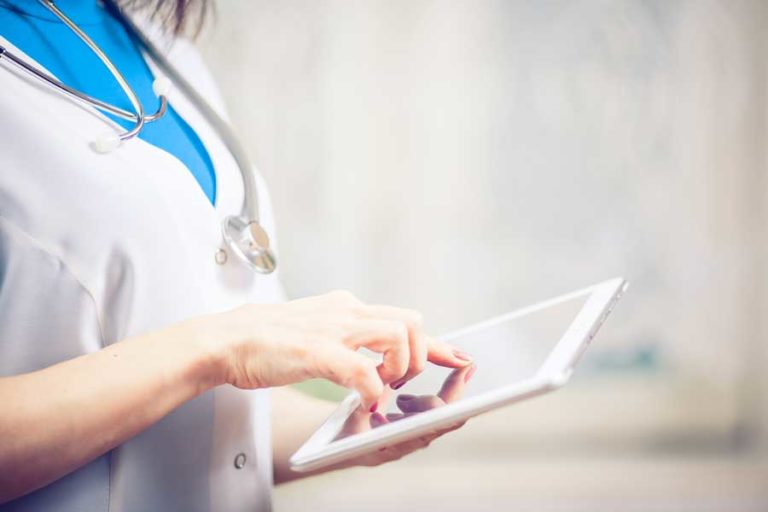 Medical Software Nurse with Tablet